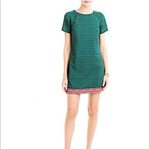 J Crew Green and Pink Short Sleeve Gallery Dress